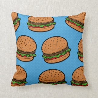 Burgers all over funny pillow