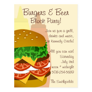 Burgers and Beer, Block Party Invitation Postcard