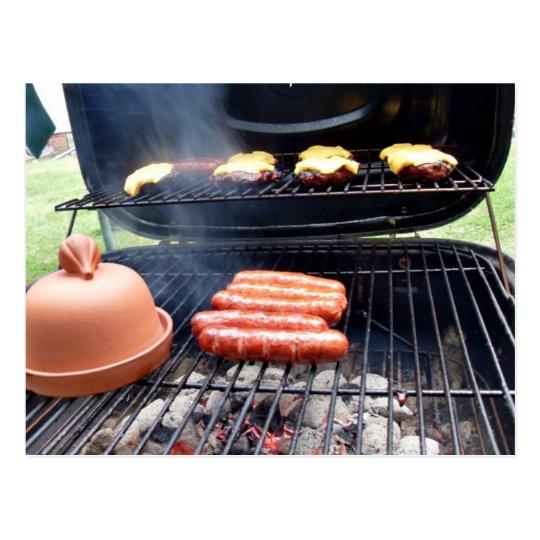 Burgers and hotdogs postcard