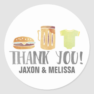 Burgers, Beer and Babies Thank You Classic Round Sticker