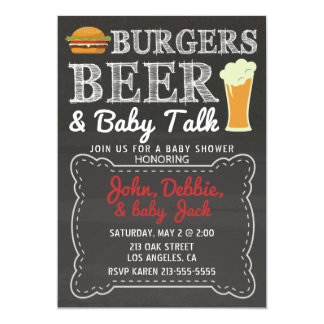 Burgers, Beer, & Baby Talk Baby Shower Invitation