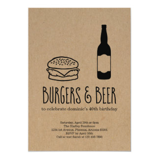 Burgers & Beer Bachelor/Birthday Party Invitation