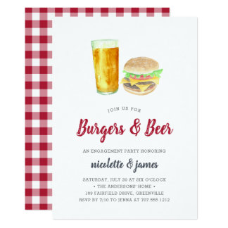 Burgers & Beer Engagement Party Invitation