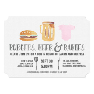 Burgers, Beer 'n Babies -Pink Baby Shower Card