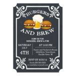 """Burgers & Brew Barbecue Party Invitation 5"""" X 7"""" Invitation Card"""