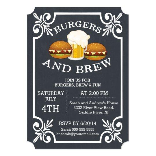 burgers brew barbecue party invitation zazzle com