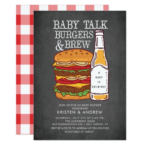 Burgers & Brew Couples Baby Shower Invitation