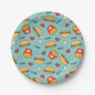 Burgers & Fries Pattern Paper Plate