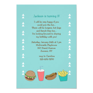 Burgers Hot Dogs and Fries Invitation
