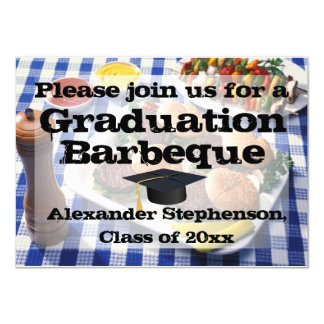 Burgers on Tablecloth Graduation Party Barbeque Card