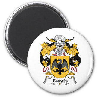 Burges Family Crest 2 Inch Round Magnet