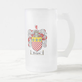 BURGESS FAMILY CREST -  BURGESS COAT OF ARMS FROSTED GLASS BEER MUG