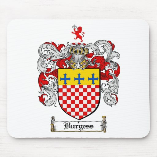 BURGESS FAMILY CREST -  BURGESS COAT OF ARMS MOUSE PAD