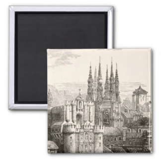 Burgos Cathedral Spain Castle Gothic Spire Vintage 2 Inch Square Magnet