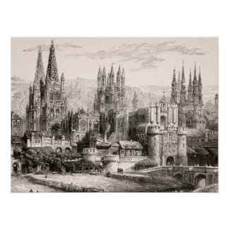 Burgos Cathedral Spain Castle Gothic Spire Vintage Poster