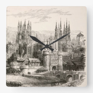 Burgos Cathedral Spain Castle Gothic Spire Vintage Square Wall Clock