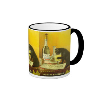 Burgués del ajenjo y poster fino del vintage del taza de dos colores