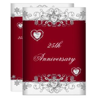 Burgundy 25th Wedding Anniversary Diamond Hearts Invitation