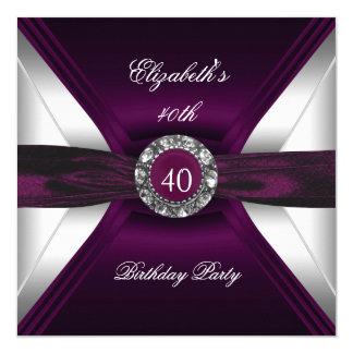 Burgundy 40th Birthday Diamond White Silver Party Invitation