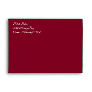 Burgundy A7 Cursive Return Address Envelopes