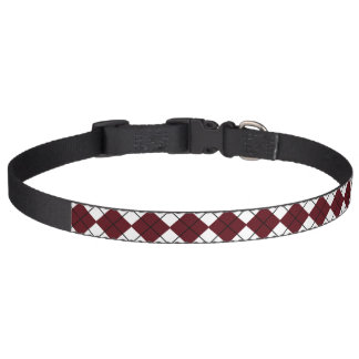 Burgundy and Black Argyle Print Dog Collar
