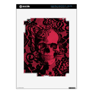 Burgundy and black lace skull decals for iPad 3