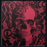 "Burgundy and black lace skull napkin<br><div class=""desc"">Burgundy and black gothic lace skull.</div>"