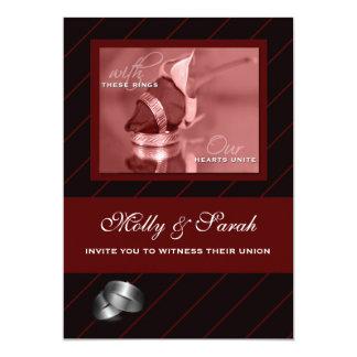 Burgundy and Black Striped Gay Wedding Card