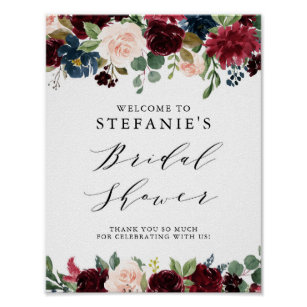 burgundy and blue floral garland bridal shower poster