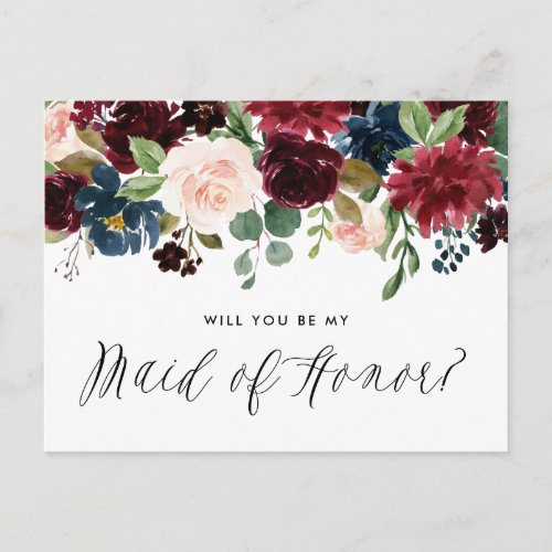 Burgundy and Blue Floral Garland Maid of Honor Invitation Postcard