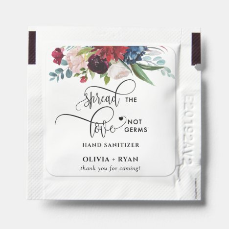 Burgundy and Blue Floral, Spread Love Not Germs Hand Sanitizer Packet