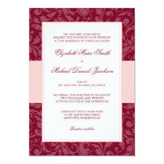 Burgundy and Blush Pink Damask Swirl Wedding Card