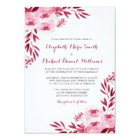 Burgundy and Blush Watercolor Floral Wedding Card