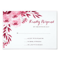 Burgundy and Blush Watercolor Floral Wedding RSVP Card