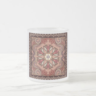 Burgundy and Brown Paisley Pattern Frosted Glass Coffee Mug