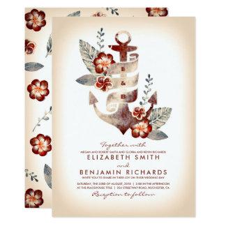 Burgundy and Champagne Beach Nautical Wedding Card