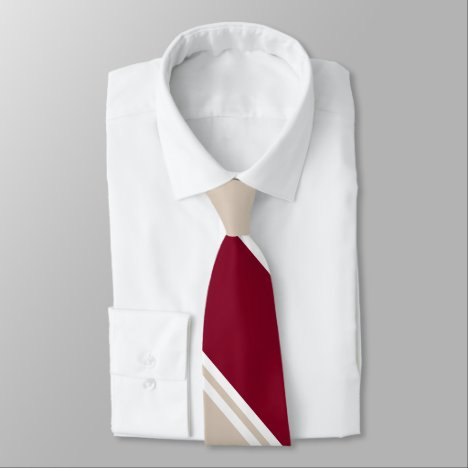 Burgundy and Champagne-Colored Diagonally-Striped Neck Tie