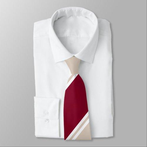 Burgundy and Champagne-Colored Regimental Stripe Neck Tie