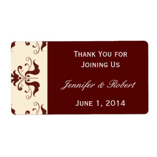 Burgundy and Cream Damask Water Bottle Label