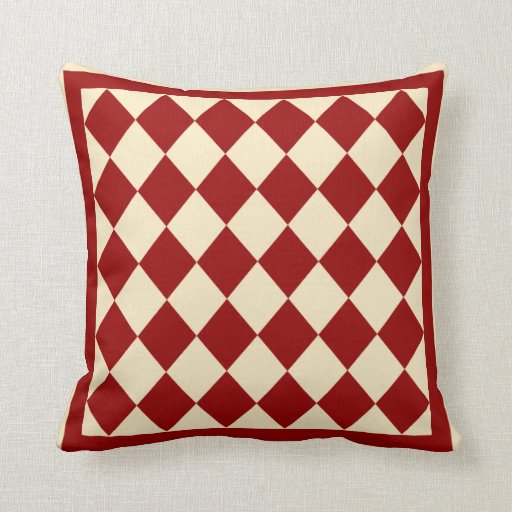 Burgundy Color Decorative Pillows : Burgundy and Cream Diamond Decorative Throw Pillow Zazzle