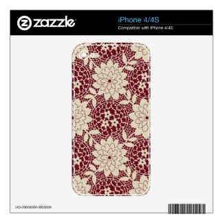 burgundy and cream floral lattice iPhone 4 skins