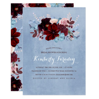 Burgundy and Dusty Blue Floral Bridal Shower Card