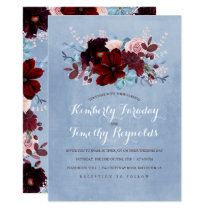 Burgundy and Dusty Blue Floral Elegant Wedding Invitation