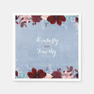 Burgundy and Dusty Blue Floral Watercolors Paper Napkin