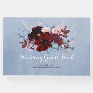 Burgundy and Dusty Blue Floral Wedding Guest Book