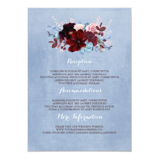 Burgundy and Dusty Blue Wedding Information Guest Card