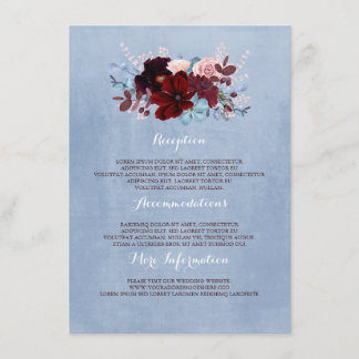 Burgundy and Dusty Blue Wedding Information Guest Enclosure Card
