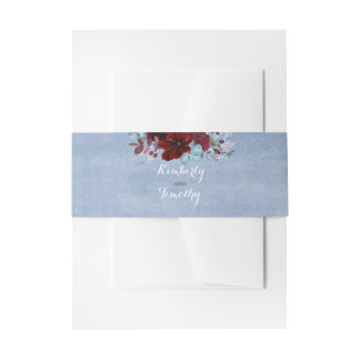 Burgundy and Dusty Blue Wedding Invitation Belly Band