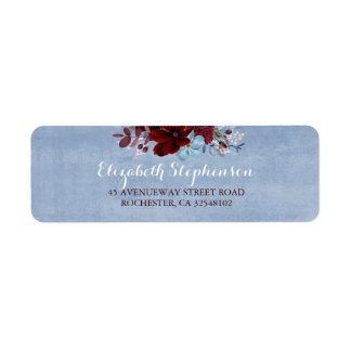 Burgundy and Dusty Blue Wedding Label