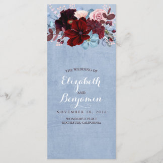 Burgundy and Dusty Blue Wedding Programs